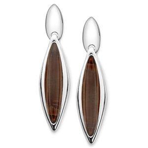 Nambe Jewelry Silver/Smoke Marquise Earrings